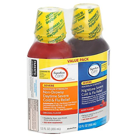 Signature Care Severe Cold & Flu Relief Daytime & Nighttime Twin Pack - 2-12 Fl. Oz.