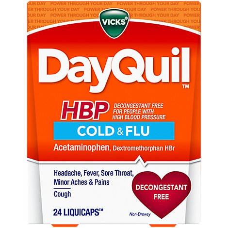 Vicks DayQuil Cold & Flu Relief HBP Liquicaps Non Drowsy - 24 Count