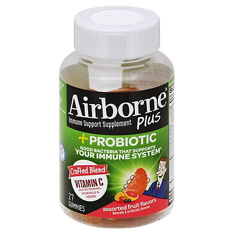 Airborne Immune Support Supplement Plus Probiotic Gummies 1000mg Vitamin C - 27 Count