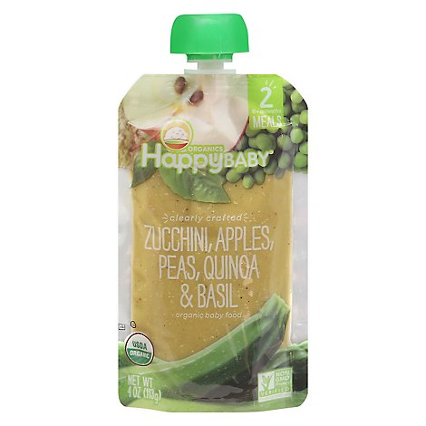 Happy Baby Organics Zucchini Apples Peas Quinoa & Basil - 4 Oz