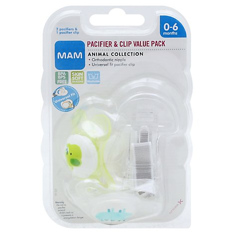 Mam Pacifiers Clip Pk Animal - 1 Count