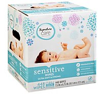 Signature Care Wipes Sensitive Ultra Soft & String Fragrance Free 3 Packs - 7-64 Count