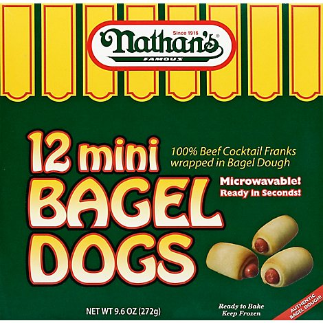 Nathans Mini Bagel Dogs 12count - 9.6 Oz