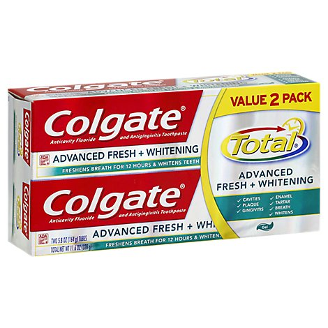 Colgate Total Advanced Fresh Whitening Toothpaste 2pack - 11.6 Oz