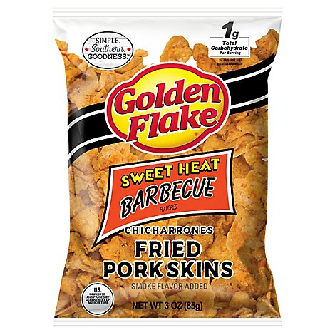 Golden Flake Chicharrones Fried Pork Skins Sweet Heat Barbecue - 3.25 Oz