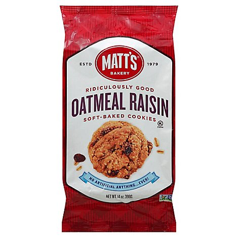 Matts Soft-Baked Cookies Oatmeal Raisin - 14 Oz