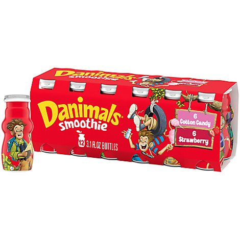Danimals Smoothie Strawberry Explosion & Cotton Candy Variety Pack In Bottels - 12-3.1 Oz