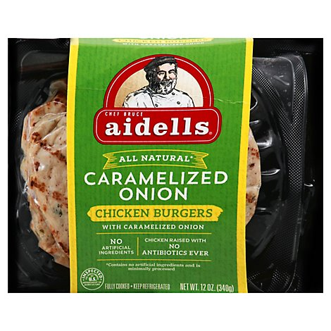 Aidells Charbroiled Chicken Burgers Caramelized Onion 4 Count - 12 Oz