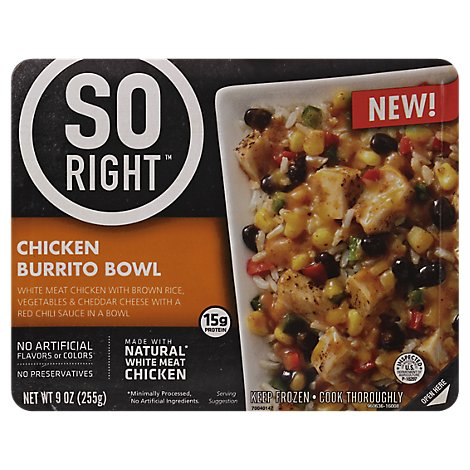 So Right Frozen Dinner Chicken Burrito Bowl - 9 Oz