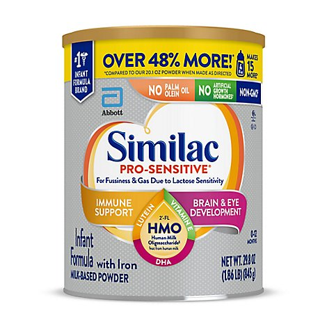 Similac Pro Sensitive Milk Based Powder Infant Formula Optigro With Iron - 29.8 Oz