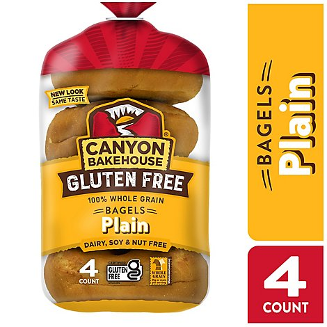 Canyon Bakehouse Bagels 100% Whole Grain Plain Gluten Free - 14 Oz