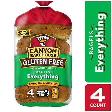 Canyon Bakehouse Bagels 100% Whole Grain Everything Gluten Free - 14 Oz