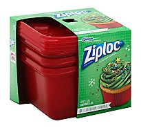 Ziploc Containers & Lids Medium Square Red Holiday  - 3 Count