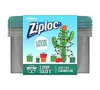 Ziploc Containers & Lids Medium Square Green Holiday - 3 Count