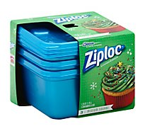 Ziploc Container Medium Square Blue Holiday - 3 Count