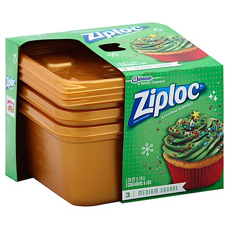 Ziploc Containers & Lids Holiday Limited Edition Medium Square Gold - 3 Count