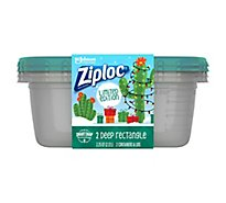 Ziploc Containers & Lids Large Rectangle Green Holiday - 2 Count