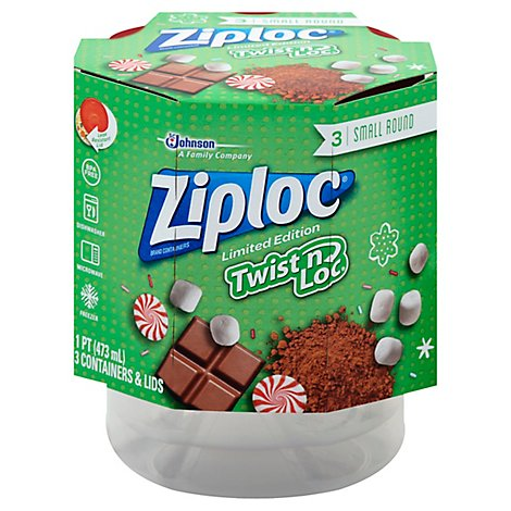 Ziploc Containers & Lids Twist N Loc Small Round Red Holiday - 3 Count