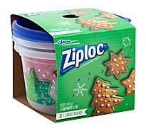 Ziploc Containers & Lids Holiday Limited Edition Large Round - 2 Count