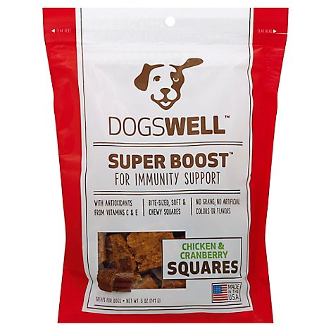 Dogswell Super Boost Treats for Dogs Chicken & Cranberry Squares Pouch - 5 Oz