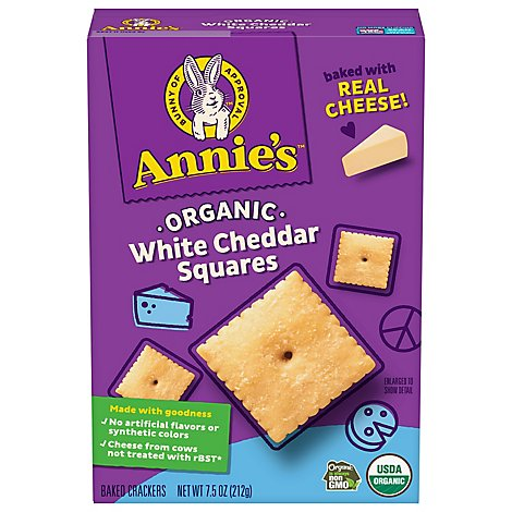 Annies Homegrown Crackers Organic Baked Snack White Cheddar Squares Box - 7.5 Oz