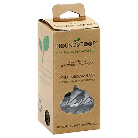 Houndscoop Pet Waste Bags Unscented Rolls - 120 Count
