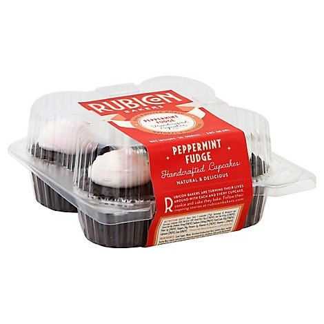Rubicon Bakers Cupcakes Handcrafted Peppermint Fudge - 4 Count