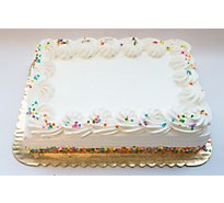 Bakery Cake 1/4 Sheet White With White Icing - Each