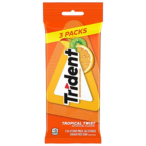 Trident Gum Sugar Free With Xylitol Tropical Twist - 42 Count