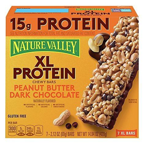 Nature Valley Peanut Butter Dark Chocolate XL Protein Chewy Bars - 7-2.12 Oz