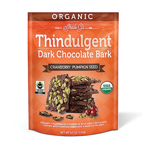 Sheila G Thindulgent Organic Dark Chocolate Cranberry Pumpkin Bark - 4.7 Oz