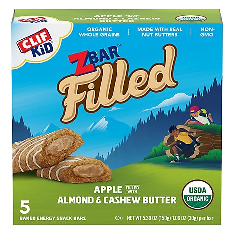 CLIF Kid Zbar Organic Filled Baked Energy Snack Apple With Almond Butter Box 5 Count - 5.3 Oz