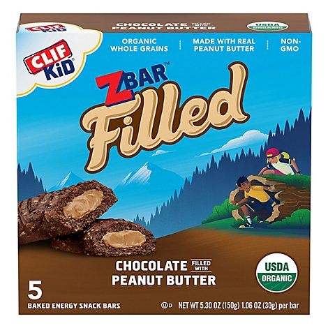 CLIF Kid Zbar Organic Filled Baked Energy Snack Chocolate With Peanut Butter 5 Count - 5.3 Oz