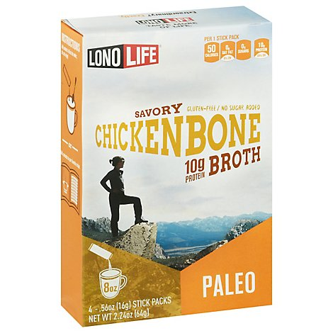 LonoLife Broth Savory Chicken Bone Paleo - 4-0.56 Oz