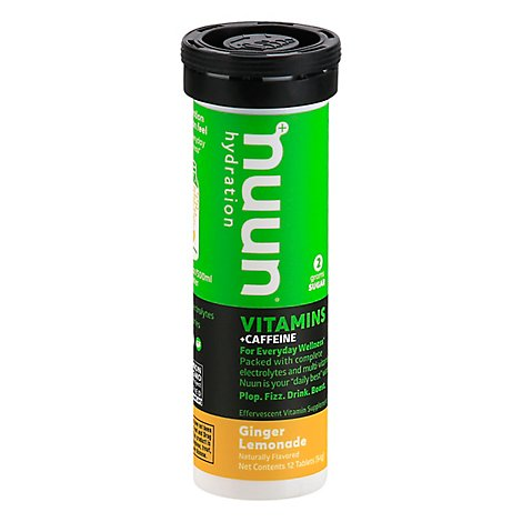 Nuun Vitamins + Caffeine Hydration Tablets Ginger Lemonade - 12 Count