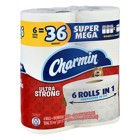 Charmin Bathroom Tissue Ultra Strong Super Mega Roll 2 Ply - 6 Roll