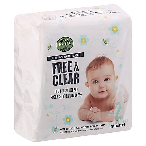 Open Nature Free & Clear Diapers Ultra Absorbent Size 2 - 36 Count
