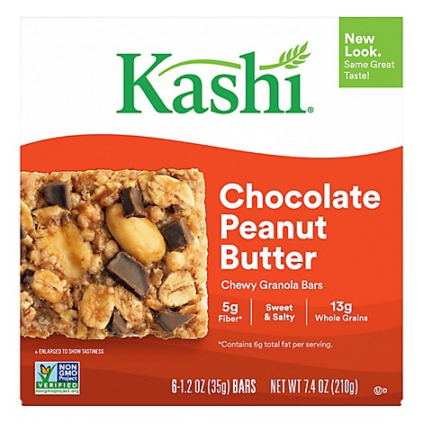 Kashi Chewy Granola Bars Chocolate Peanut Butter 6 Count - 7.4 Oz