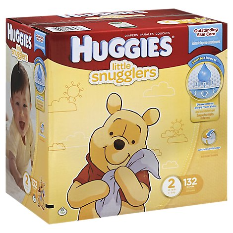 Huggies Little Snugglers Diapers Size 2 Giant Pack - 132 Count