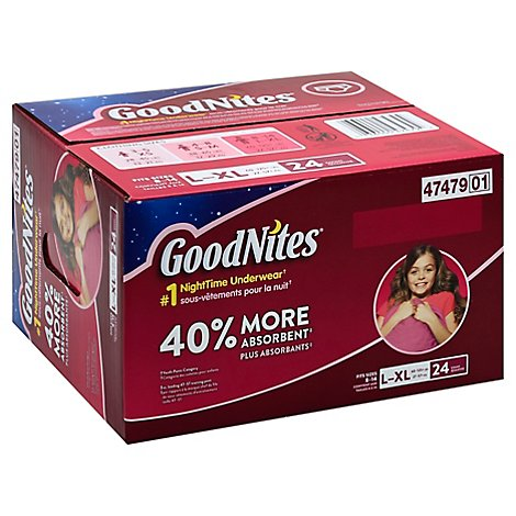 Goodnites Underwear Nighttime For Youth Girls 40% More Absorbent Large/Extra Large - 24 Count