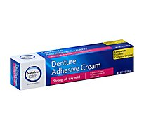 Signature Care Denture Adhesive Cream Strong All Day Hold - 2.4 Oz