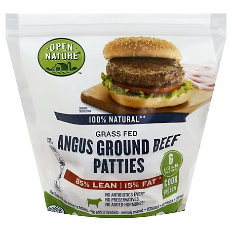 Open Nature Beef Patties 85% Lean 15% Fat - 32 Oz