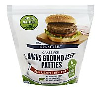 Open Nature Beef Hamburger Patties 85% Lean 15% Fat - 32 Oz.