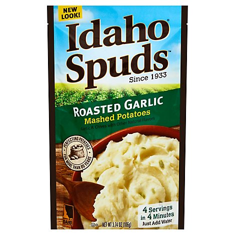 Idaho Spuds Potatoes Mashed Gluten Free Roasted Garlic Pouch - 3.74 Oz