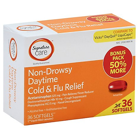 Signature Care Cold & Flu Relief Daytime Non Drowsy Acetaminophen 325mg Softgel - 36 Count