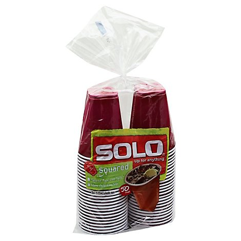 SOLO Cups Plastic Squared Colored - 50 Count