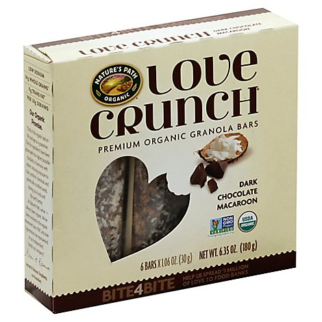 Natures Path Organic Love Crunch Granola Bars Dark Chocolate Macaroon 6 Count - 6.35 Oz