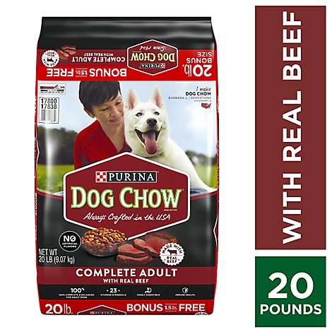 Purina Dog Chow Dog Food Complete Adult With Real Beef - 20 Lb