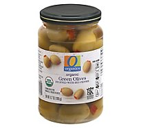 O Organics Organic Olives Green Stuffed With Red Pepper - 6.7 Oz