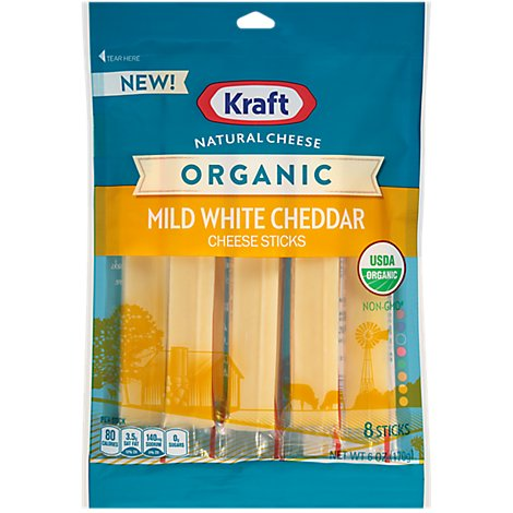 Kraft Natural Cheese Cheese Sticks Organic Mild White Cheddar 8 Count - 6 Oz